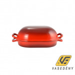 Perfect Home Öntöttvas kacsasütő zománcozott kúpos piros 15025