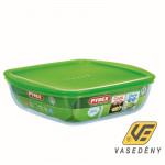 Pyrex Sütőtál, hőálló üveg, műanyag tető, 2 liter, Cook and Store, 203062