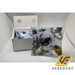 Üveg kínáló tál 228509 szögletes 21 cm levendulás