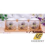 Kerámia fűszertartó szett  285512 aromazárral 3 dl levendulás