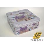 Csatos doboz, 20x8cm, fém, levendula mintás, 409124