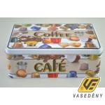 Csatos doboz, 13x20x7cm, fém, kávékapszula mintás, 409139