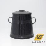 Zománcozott füles zsírosbödön fém fedővel fekete 30 liter