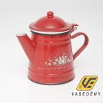Zománcozott fedeles kávéfőző piros virágos 1 liter