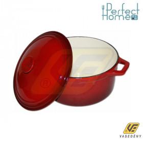 Perfect home 10566 öntöttvas lábas fedővel 26 cm piros