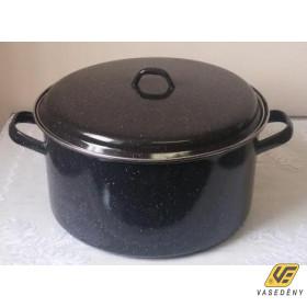 Zománcozott kombi edény fedővel, acélperemes, 13 liter, fekete, 1317+39/32