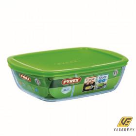 Pyrex Sütőtál, hőálló üveg, műanyag tető, 2,7 liter, Cook and Store, 203134