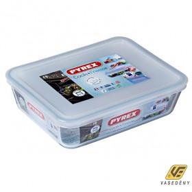 Pyrex 203230 Téglalap alakú sütőtál műanyag tetővel 1,5 liter Cook and Freeze