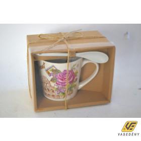Csésze készlet, 250ml, porcelán, kanállal, rózsa mintás, 300377