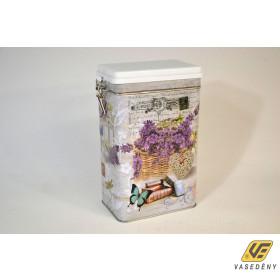 Csatos doboz, 19x12cm, fém, levendula mintás, 409105