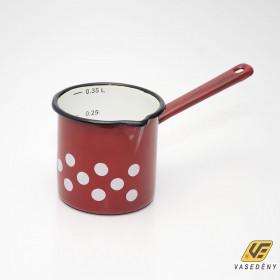 Zománcozott kávékiöntő mércés piros pöttyös 0,4 liter