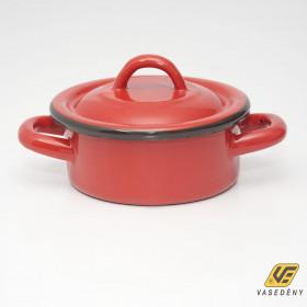 Zománcozott lábas fedővel 5,5 liter piros