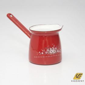 Zománcozott öblös kávékiöntő piros virág mintával 0,75 liter