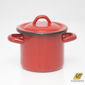 Zománcozott fazék fedővel 1 liter piros