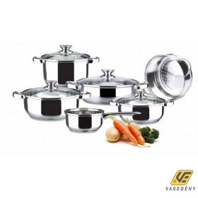 Alza 00440182 Basic Rozsdamentes edénykészlet üvegfedővel 10 részes