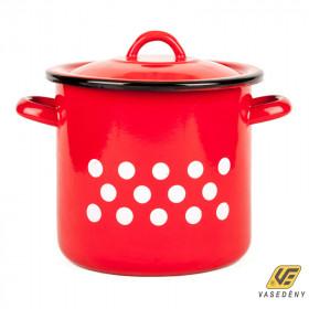 Zománcozott fazék fedővel, 2 liter, piros pöttyös, 2+39/15/pp