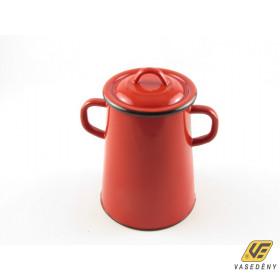 Zománcozott füles zsírosbödön, fém fedővel, 5 liter, piros, 151/05